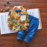 2 stuk Jongens Outfits Sets 2018 Lente Kinderkleding Set gentleman Kleding kinderen Mode Plaid Pak Baby tie tshirt + jeans