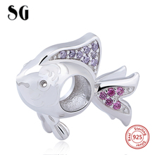 Summer arrival 925 Sterling Silver Animal Sea Fish Charms Beads Fit Original Pandora Bracelets Authentic DIY Jewelry Gift