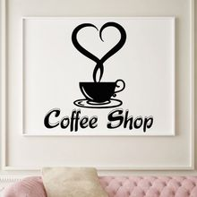 Coffee Shop Logo Wall Sticker Good Decal Vinyl Cafe Poster Cup Tea Kitchen Decor Window Stickers AY1208