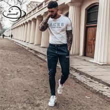 Yauamdb мужские длинные штаны весна осень cotton хлопок мужские брюки одежда drawstring полосатый письмо повседневная мужская одежда zy60