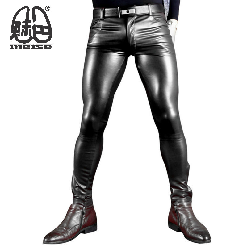 2017 Fashion Elastic Faux Leather Pants for MenWatch Role Men X Soft Skinny Gay Pants