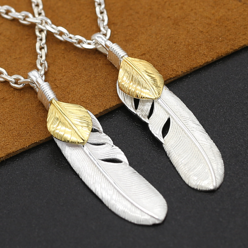 S925 Sterling Silver Takahashi Goro Jewelry Vintage Retro Thai Silver Personalized Silver Eagle Feather PendantS925 Sterling Silver Takahashi Goro Jewelry Vintage Retro Thai Silver Personalized Silver Eagle Feather Pendant