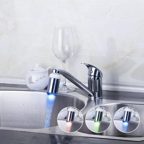 Kitchen Torneira Single Handle Deck Mount LED Light Swivel Chrome 8393C Basin Sink Water Tap Vessel
