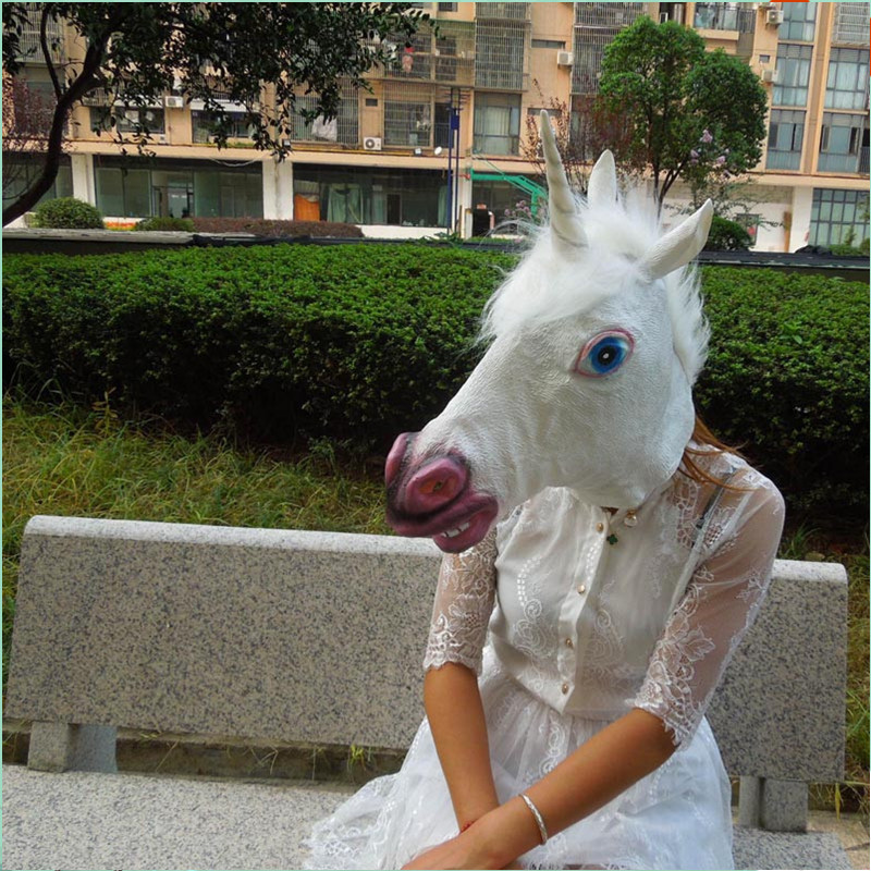 halloween unicorn head mask cosplay adult animal latex hood tricky god horse fetish mask christmas carnival rave party costume in boys costume accessories