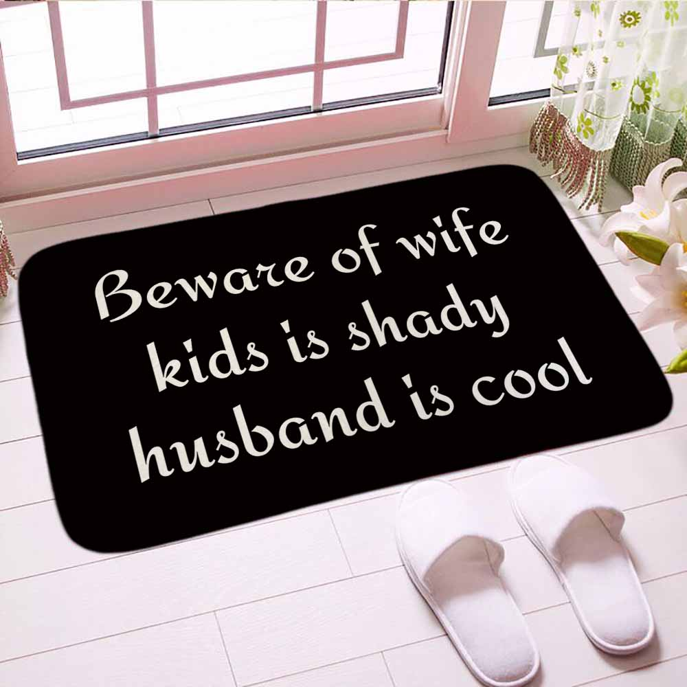 Beware of wife kids is shady husband is cool Doormat Digital Print Floor Mat Carpet Soft Bathroom Mats Good Gift For Home Decor image