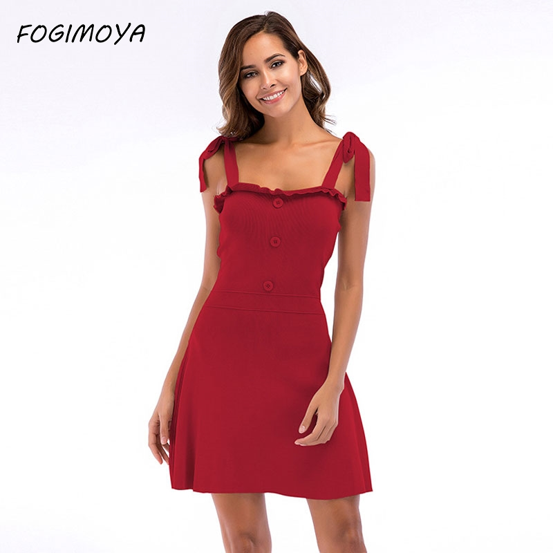 FOGIMOYA Dress Women Summer Solid Kniiting Strap Dress 2018 Womens Sexy Off The Shoulder Strap Dresses A Line Mini Dresses New