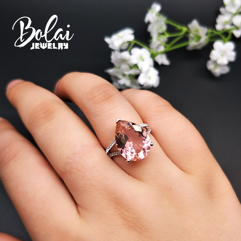 Bolaijewelry Simple elegant 925 sterling Ring with created pink morganite nano fine jewelry for women in Rings from Jewelry Accessories