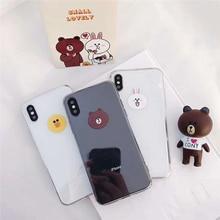 Cute Brown Bear Cony Rabbit Cartoon Pattern Soft Phone Full Cover For iPhone X 6s Plus 7 8 Clear TPU Case Fundas Coque Capa