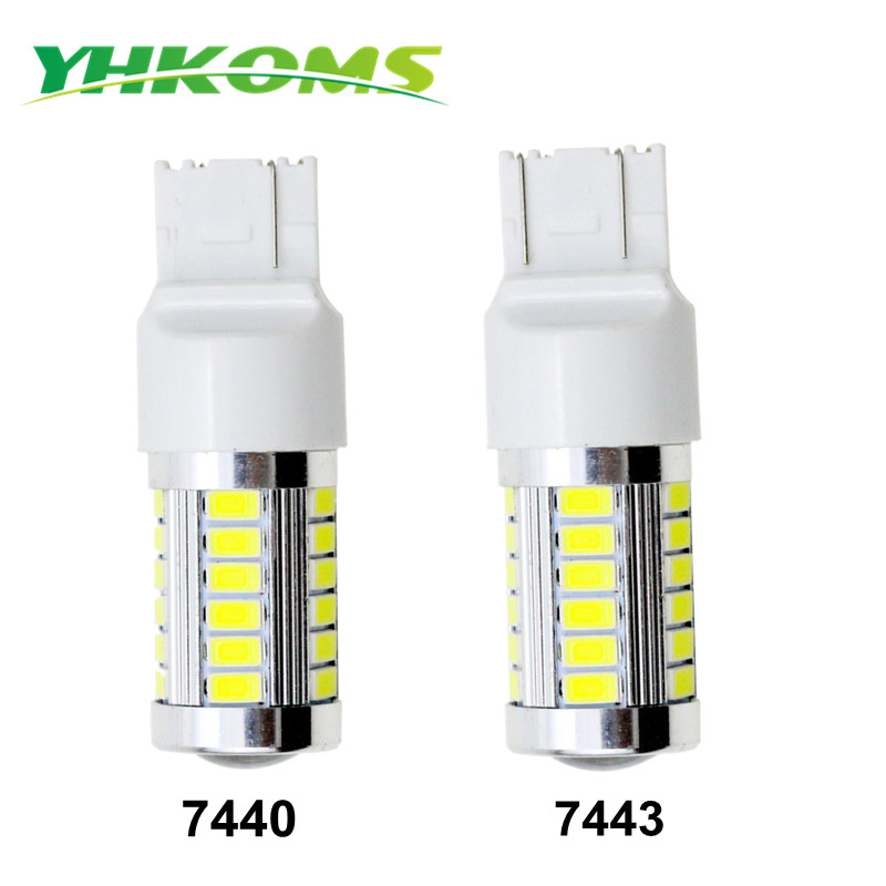 YHKOMS 33 SMD High Bright 5630 5730 Chipset <font><b>T20</b></font> Brake Light 7440 7443 <font><b>LED</b></font> Bulb <font><b>Red</b></font> For W21W W215W W3X16D W3X16Q Upgrade Lamp image