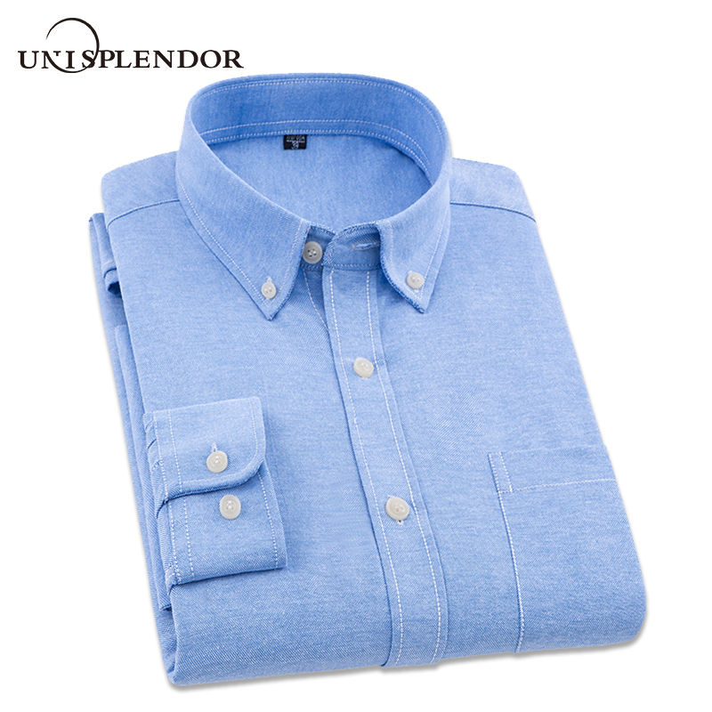 New Arrival 2019 Brand New Cotton Man Oxford Dress Shirt Solid Shirt Men Spring Casual Shirts Male Camisa Masculina Top YN10209