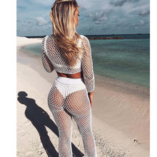 MUXU summer Beach sexy mesh transparen woman clothes casual white two piece set women suit top and pants