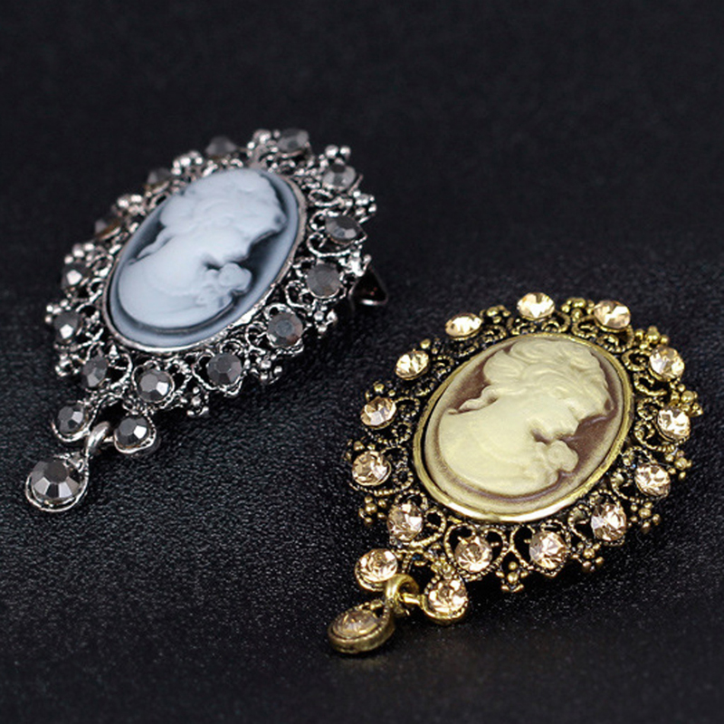 Vintage Cameo Victorian Style crystals Weddings Party Womens Pendants Brooch Pin