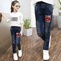 Повседневная 2017 блесток губ дети узкие джинсы брюки для девочек длинные джинсовые брюки одежда little big девушки джинсовой одежды 10 12 14 лет