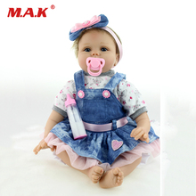 цена на 55cm boneca reborn kukla reborn dolls lol Hair Blue Eyes Girl Doll soft body Silicone Vinyl Dolls toys for girls children gift