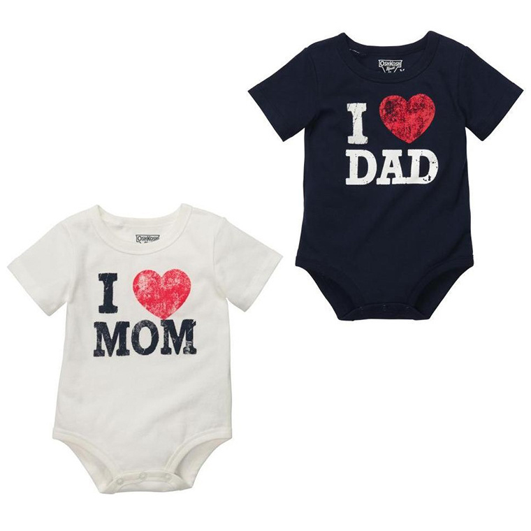 Newborn Bodysuits Baby Pajamas I Love Dad Mom Infant