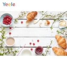 Yeele Bread Milk Breakfast Wooden Board Bouquet Photography Backgrounds Customized Backdrops For Photo Studio
