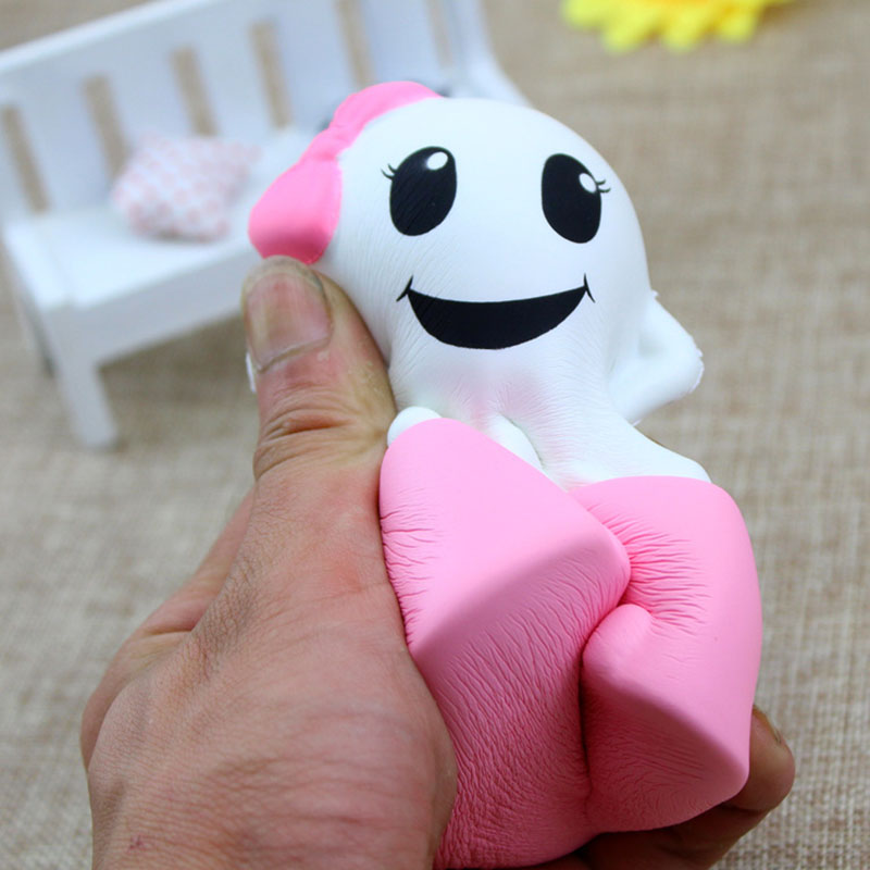 11.5CM Jumbo Halloween Ghosts Gags Squishy Toy Phone Straps Cell Phone Strap Soft Squeeze Slow Rising Fun Props Accessories P20