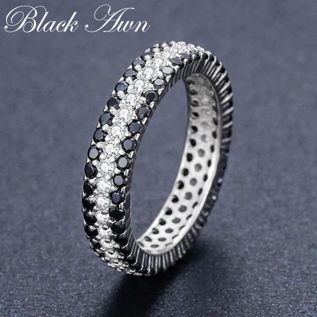 [BLACK AWN] Anillo de Plata de Ley 925 Vintage para mujer, espinela negra redondos de anillos de compromiso, joyería de plata de ley C443