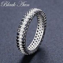 [Siyah AWN] Vintage 925 ayar gümüş parmak yüzük siyah Spinel yuvarlak alyans kadınlar için gümüş takı c443