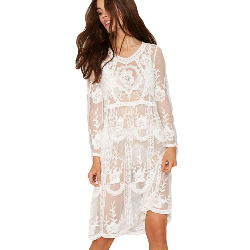 Plus Size Crochet Jacquard Lace Dress 2017 Boho Maxi Vintage Hollow Out Floral Lace Vestidos Bohemia Holiday Beach Women Dress