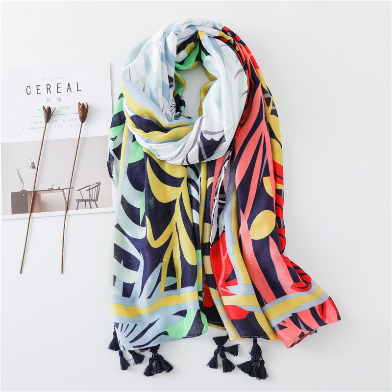 Women Antumn Winter Tassel   Scarf   Ombre Patchwork Leaves Floral Viscose   Scarves     Wrap   Long Pashmina Shawls Hijab Muslim Headband