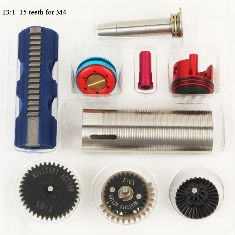 13:1 High Speed Gear 15 Teeth Piston Cylinder Piston Head Spring Guide Nozzle Tune-Up Set for M4/AK for Ver.2/3 Airsoft AEG m4 ver 2 aeg airsoft accessories high speed gear piston head spring guide nozzle cylinder 13 1 16 1 18 1 200 100 300 100 cnc