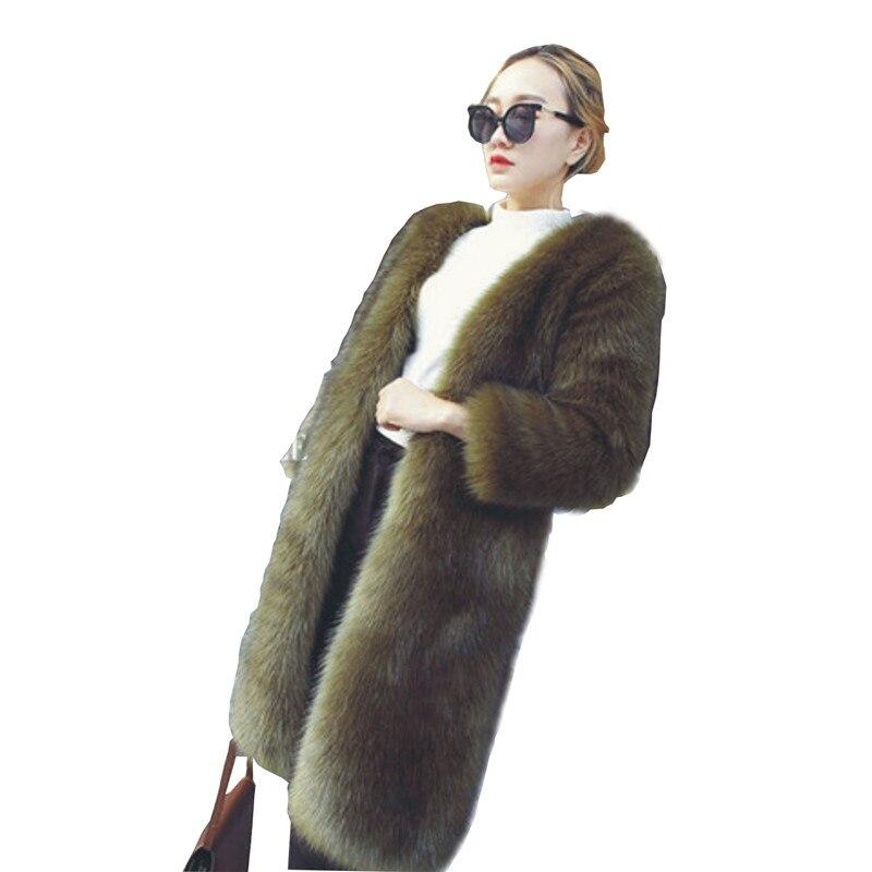 Femmes Faux Veste De army Chaud Casual Taille Noir Fourrure Long Épais Plus Survêtement Top Slim Hiver Manteau La Renard Qualité Green SUVzMp