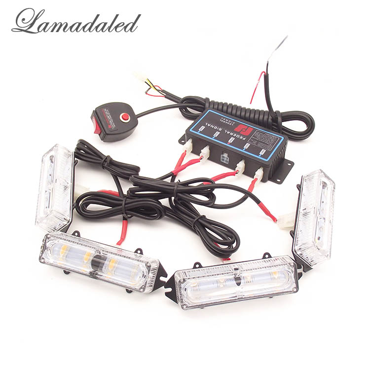Lamadaled 4pcs 10cm high bright led red blue police vehicle strobe Lights 4x4 LED car grille light automobile flash warning lamp ...