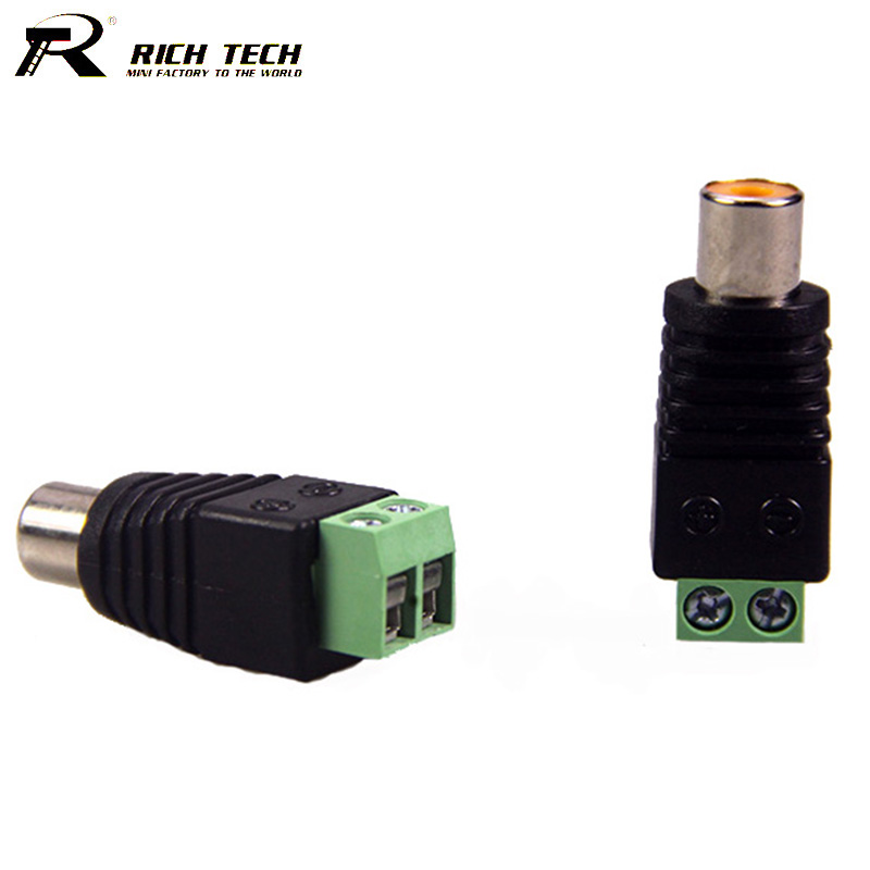 10pcs/lot Phono RCA Female Jack to AV Balun Terminal Connector Video Screw AV Balun RCA Socket Converter RICH TECH 3pcs lot cctv phono rca male plug to av terminal connector video av balun international standard