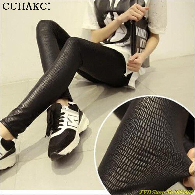 CUHAKCI PU Leather Leggings Snakeskin PatternHigh Stretch Quality Skinny Black Punk Rock LeggingsMatte Casual Women Legging
