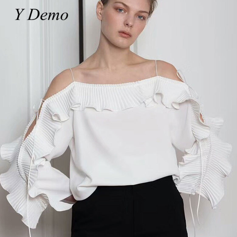 Y Demo 2018 Sexy Strapless Chiffon Shirt Collar Strap Ruffle Shoulder Off Womens Blouse