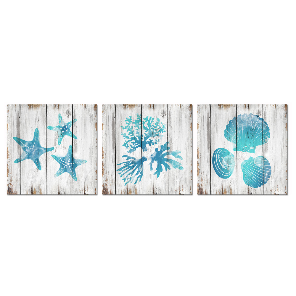Us 14 79 50 Off Visual Art Decor Unframed Canvas Prints Teal Blue Bathroom Wall Decor Seashell Coral Starfish Decor Painting Ocean Sea Pictures In