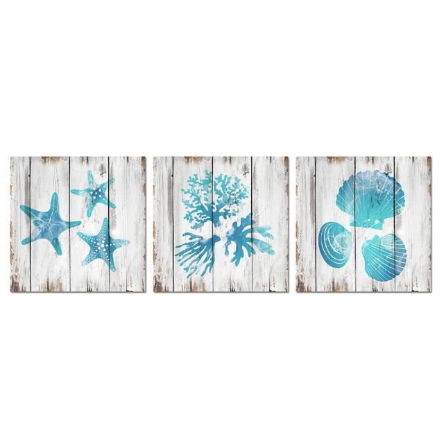 Merveilleux Visual Art Decor Unframed Canvas Prints Teal Blue Bathroom Wall Decor  Seashell Coral Starfish Decor Painting