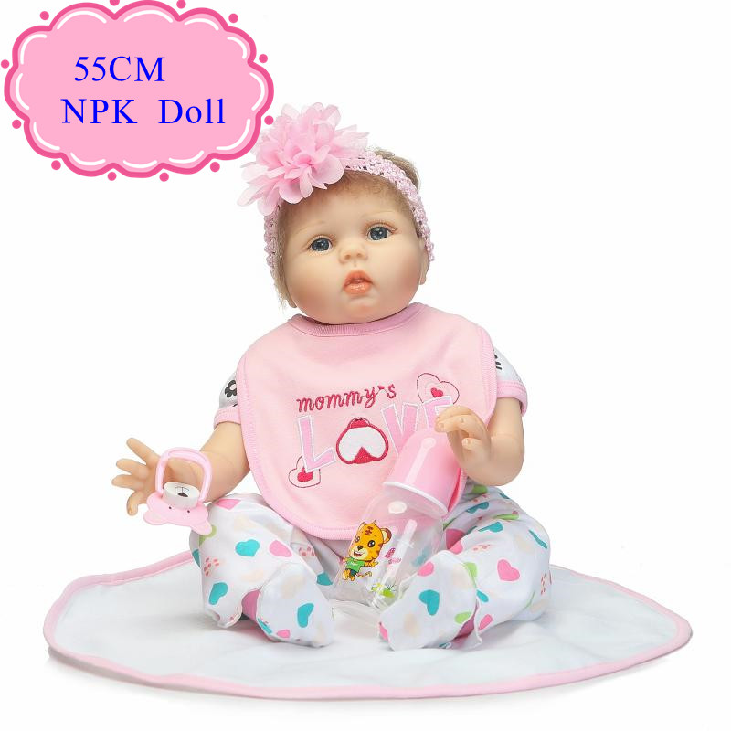 PP Cotton 55cm Silicone Reborn Baby Doll With Pink Rose Hair Band 22inch Bebe De Silicone Like A Real Baby For Kids As Playmate pink wool coat doll clothes with belt for 18 american girl doll