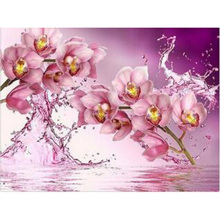 Water The pink orchid painting cross stitch picutre of rhinestone Full Round diamond embroidery wedding decoration RY230