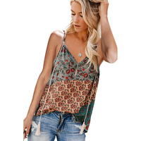 Spaghetti Straps V Neck Print Tank Top Feel sexy, chic and cool in this tank top