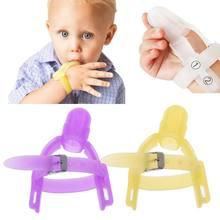 Protetor de dedo infantil para bebês, 2 cores, silicone não-tóxico, pare de polegar, pulseira de sucção, Feb-15