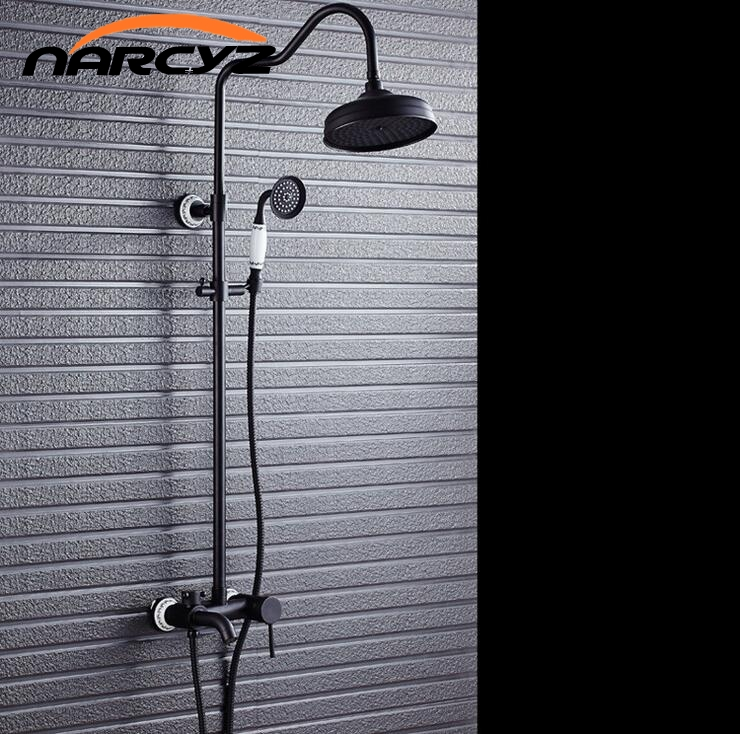 Czarny miedzi prysznic z prysznicem zestaw prysznicowy pełna miedź retro europejski prysznic z prysznicem kropidło kran XT308 w Baterie prysznicowe od Majsterkowanie na AliExpress - 11.11_Double 11Singles' Day 1