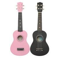 Hot Sale 21 Acoustic Maple Wood Basswood Black Pink Soprano Ukulele Nylon 4 Strings 12 Fret