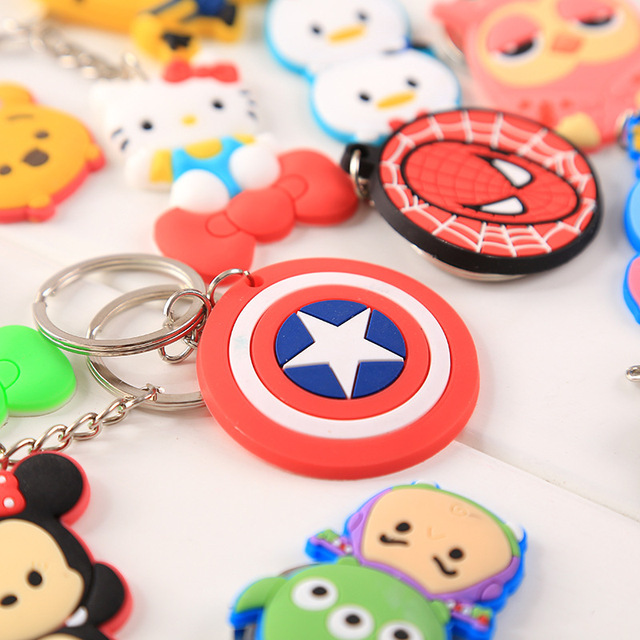 Wholesale Cute Keychain Rubber Key Chain PVC Cartoon Key Ring Creative Couple Key Bag Pendant Gift For Women Children Student 1
