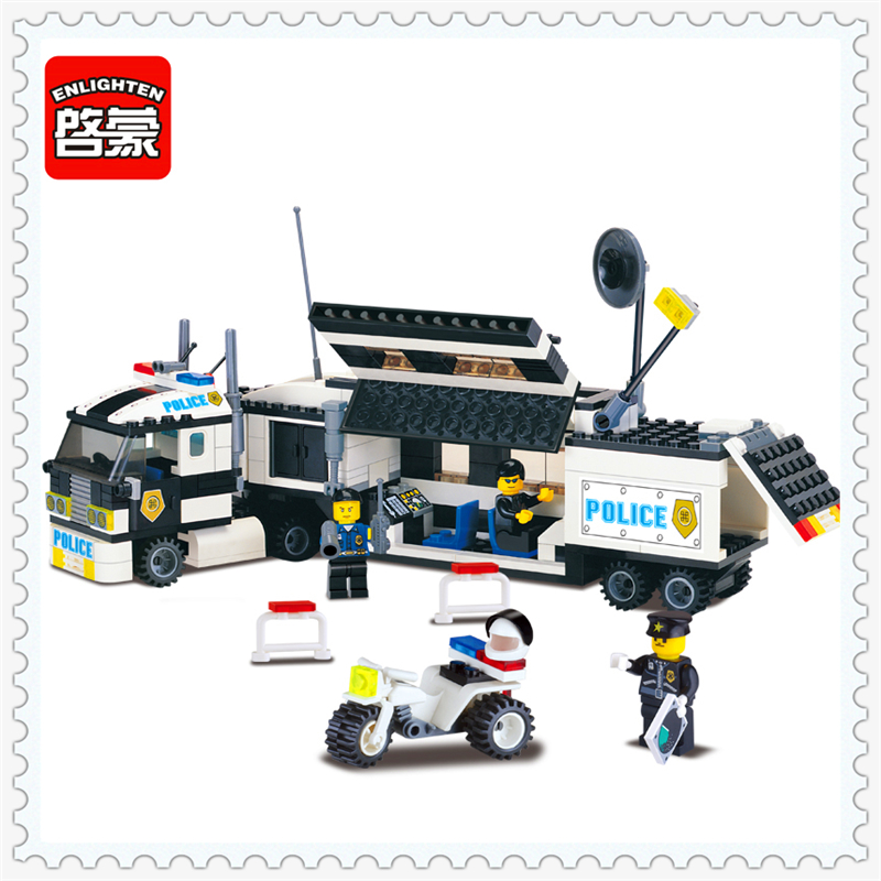 325Pcs City Police Truck Riot Tracking Model Building Block Toys ENLIGHTEN 128 Educational Gift For Children Compatible Legoe decool 3117 city creator 3 in 1 vacation getaways model building blocks enlighten diy figure toys for children compatible legoe