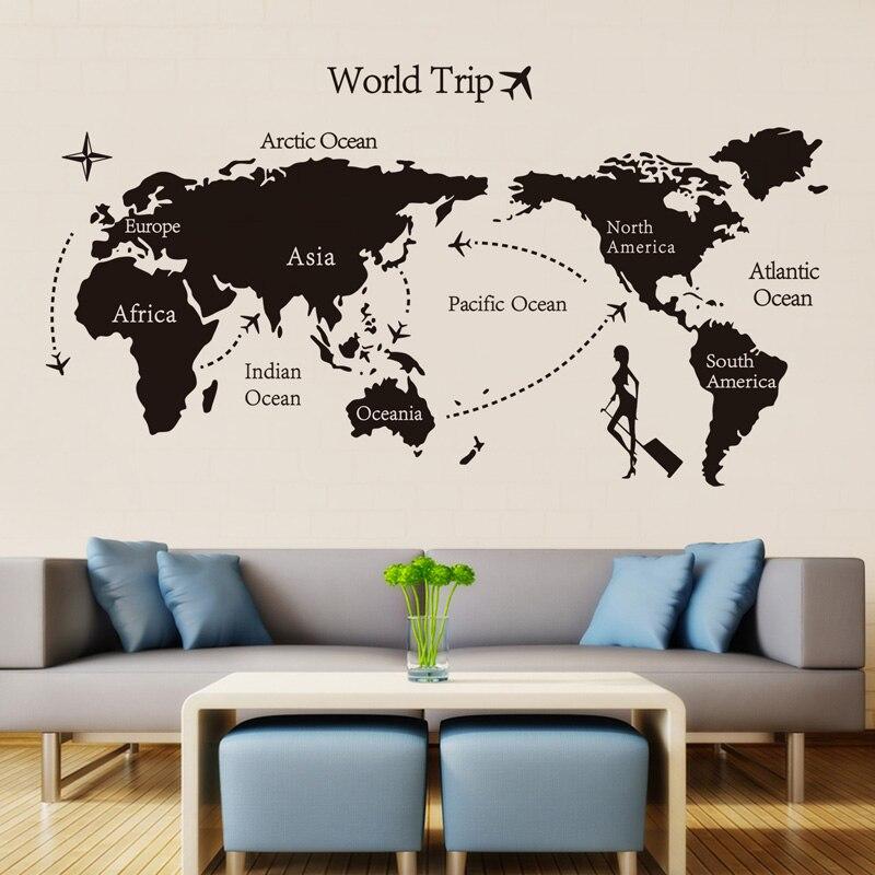 Mapa de viaje del mundo negro pegatinas de pared de vinilo para la decoración del hogar de la habitación de los niños calcomanías de arte de la oficina papel tapiz 3D decoración del dormitorio de la sala de estar