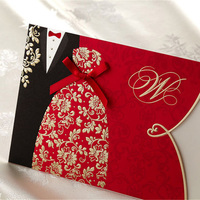 55pcs Red Bride And Groom Laser Cut Wedding Invitations Card Personalized Custom Printable With Envelopes Seals