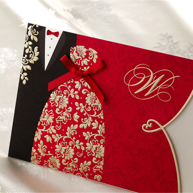 55pcs Red Bride and Groom Laser Cut Wedding Invitations Card Personalized Custom Printable with Envelopes Seals Wedding Supplies 1 design laser cut white elegant pattern west cowboy style vintage wedding invitations card kit blank paper printing invitation