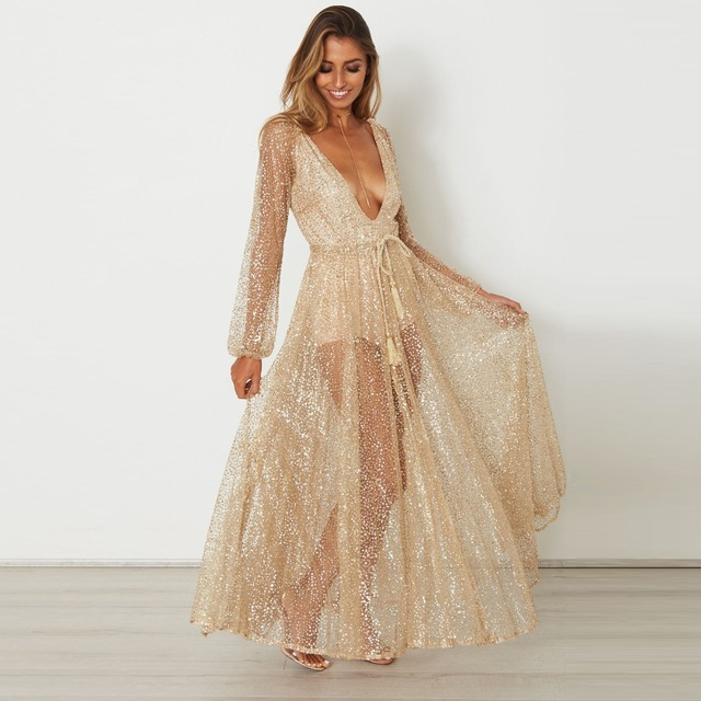 d0d091f86e0c Sexy Deep V Neck Beach Maxi Autumn Dress Women 2018 Long dress female Net  Yarn With Sashes Plus Size Vintage Loose Sexy Dress-in Dresses from Women s  ...