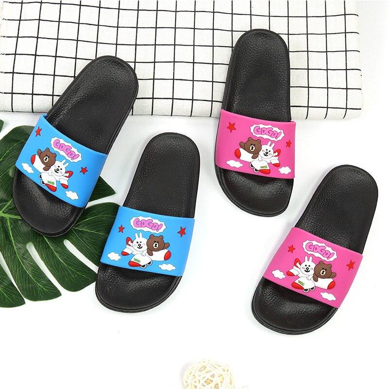 2018 Summer New Kids Shoes Comfortable Soft Bottom Home Bathroom Non-slip Slippers Outdoor Cartoon Bear Sandals Boy Girl Shoes