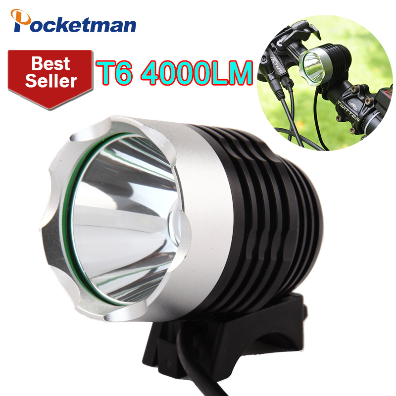 4000 Lumen CREE XM-L T6 LED Bicycle Headlight Lamp For Bike Cycling Bike Bicycle 3 Mode Waterpoof Front Light & USB 2 in 1 13t6 bicycle headlight headlamp 23000 lumen 13x cree xm l t6 led cycling helmet bike light 18650 battery pack charger