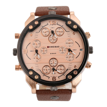Shiweibao Style Luxury Men's  Four Movement Quartz Sport Military Stainless Steel Dial Leather Band Wrist Watch