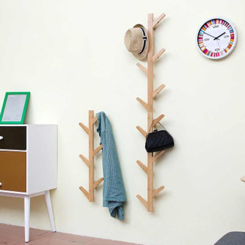 Actionclub 1 PC 竹木製ハンギングコートラック壁ハンガーベッドルームの装飾ハンガー壁棚 6 フック