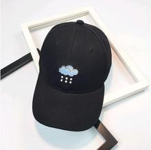 New Korean clouds embroidery Rainy day baseball cap women men couple cute cartoon peaked cap for summer all match classic color